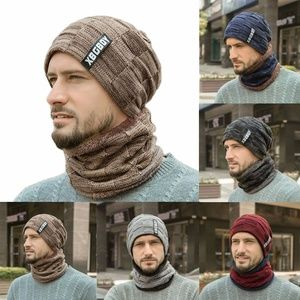 Mens Beanie Hats Scarf Set Warm Knit Cap Neck